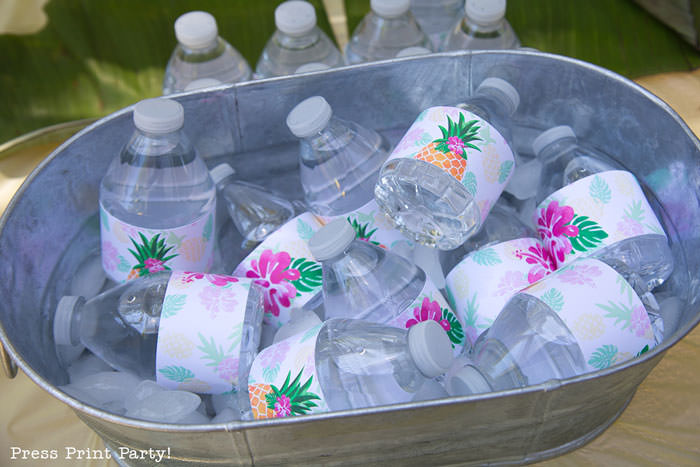 Party like a Pineapple -Pineapple party - Luau Party water bottle labels - by Press Print Party!