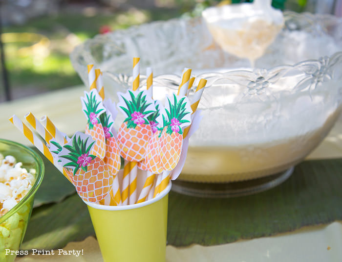 Party like a Pineapple -Pineapple party - Luau Party - pineapple straws -by Press Print Party!