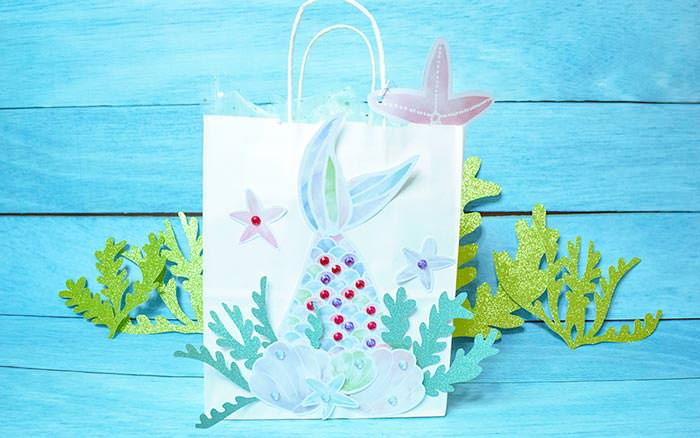 Mermaid gift bag DIY with FREE seaweed cut file and printables - By Press Print Party and Abbi Kirsten Collections