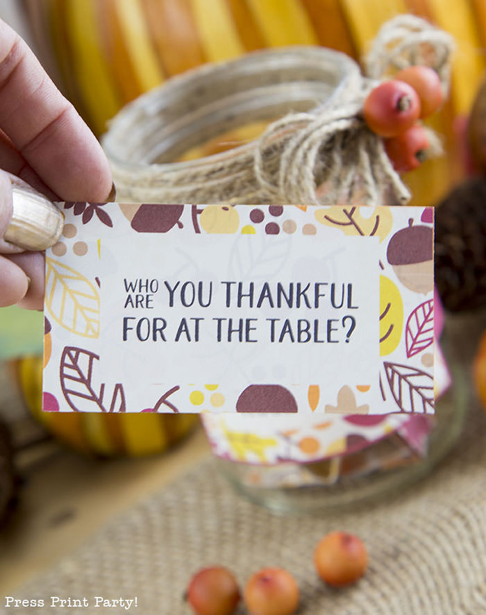 Free Thanksgiving printable conversation cards for Thanksgiving dinner activity. Game for Thanksgiving. free printable Thanksgiving ideas for dinner. What to do at Thanksgiving dinner. With questions to boost conversation. Fall leaves design. Put them in a jar with label. Press Print Party! Who are you thankful for at the table?