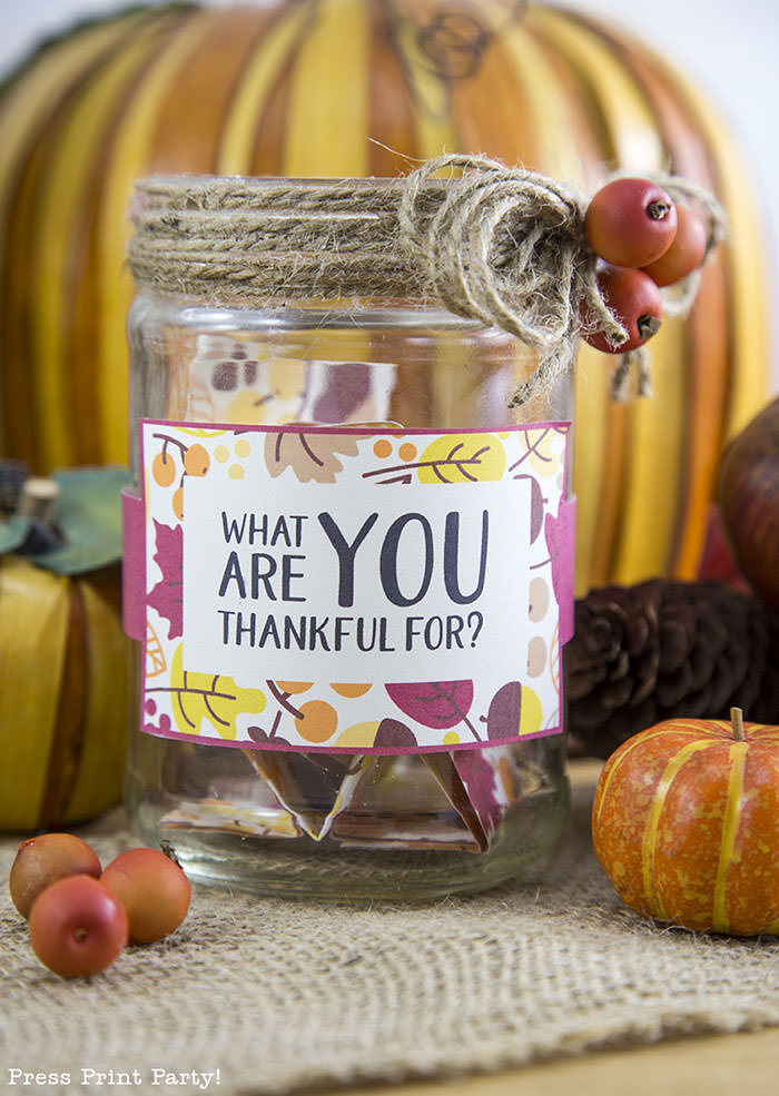 Free Thanksgiving printable conversation cards for Thanksgiving dinner activity. Game for Thanksgiving. free printable Thanksgiving ideas for dinner. What to do at Thanksgiving dinner. With questions to boost conversation. Fall leaves design. Put them in a jar with label. Press Print Party! What are you thankful for?