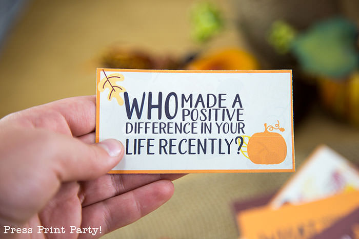 Free Thanksgiving printable conversation cards for Thanksgiving dinner activity. Game for Thanksgiving. free printable Thanksgiving ideas for dinner. What to do at Thanksgiving dinner. With questions to boost conversation. Fall leaves design. Put them in a jar with label. Press Print Party! What are you thankful for? Who made a positive difference in your life recently?