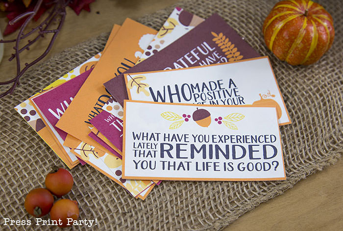 Free Thanksgiving printable conversation cards for Thanksgiving dinner activity. Game for Thanksgiving. free printable Thanksgiving ideas for dinner. What to do at Thanksgiving dinner. With questions to boost conversation. Fall leaves design. Put them in a jar with label. Press Print Party! What are you thankful for? What have you experienced lately that reminded you that life is good?