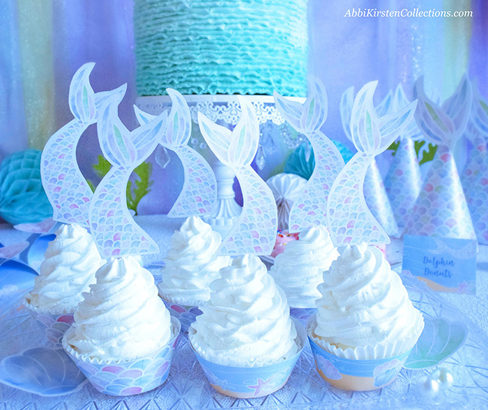 Decorate your Mermaid Party like a Pro! by Press Print Party! Mermaid Theme - Mermaid party ideas -supplies - little mermaid cupcakes