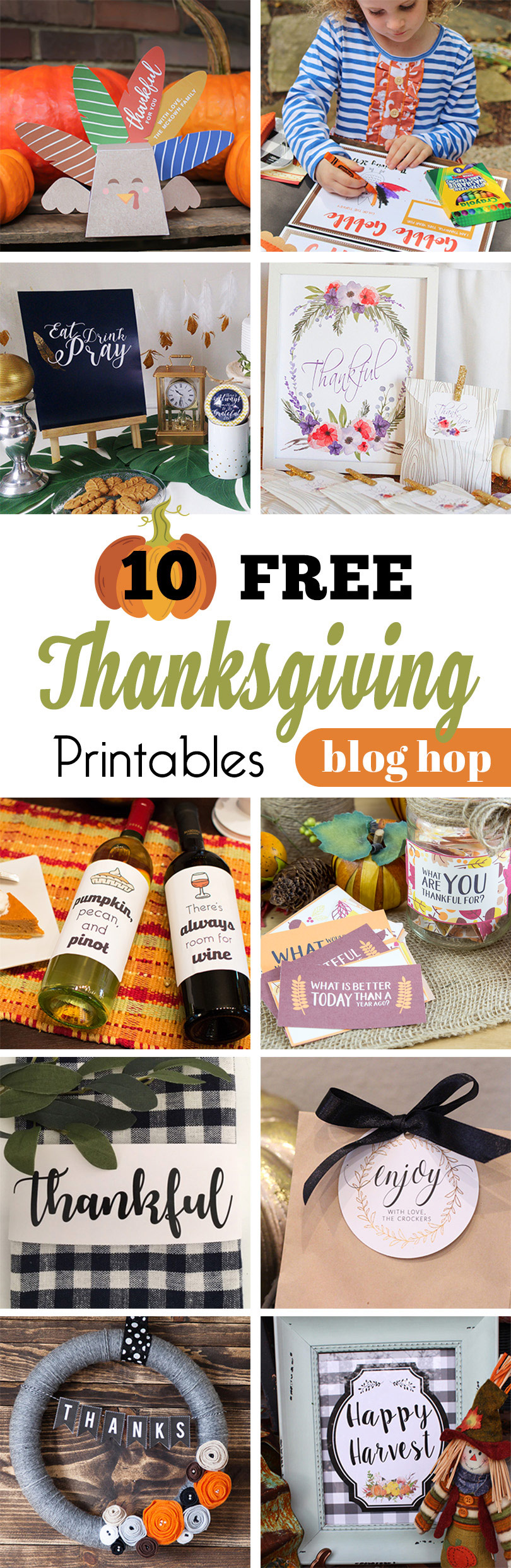 10 FREE Thanksgiving Printables Blog Hop!