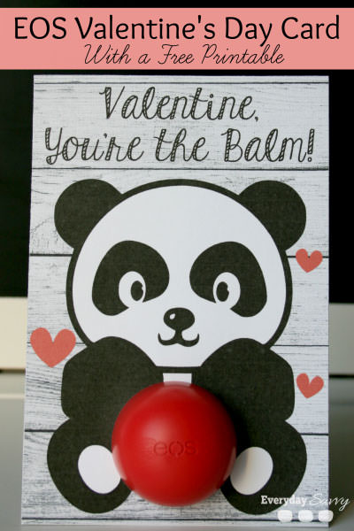 35 Easy No-Candy Valentines with Free Printables by Category - Curated by Press Print Party! panda eos balm printable valentine