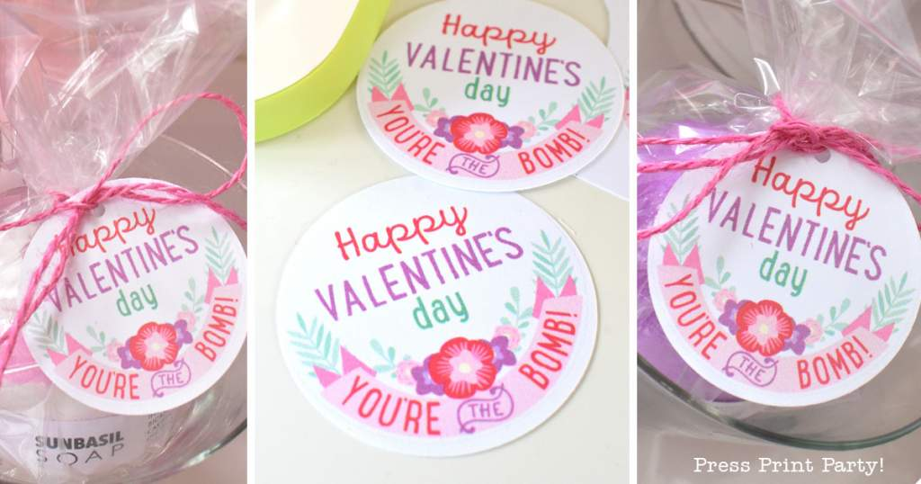 Free Valentines Day Bath Bomb Printable Tags - Press Print Party!