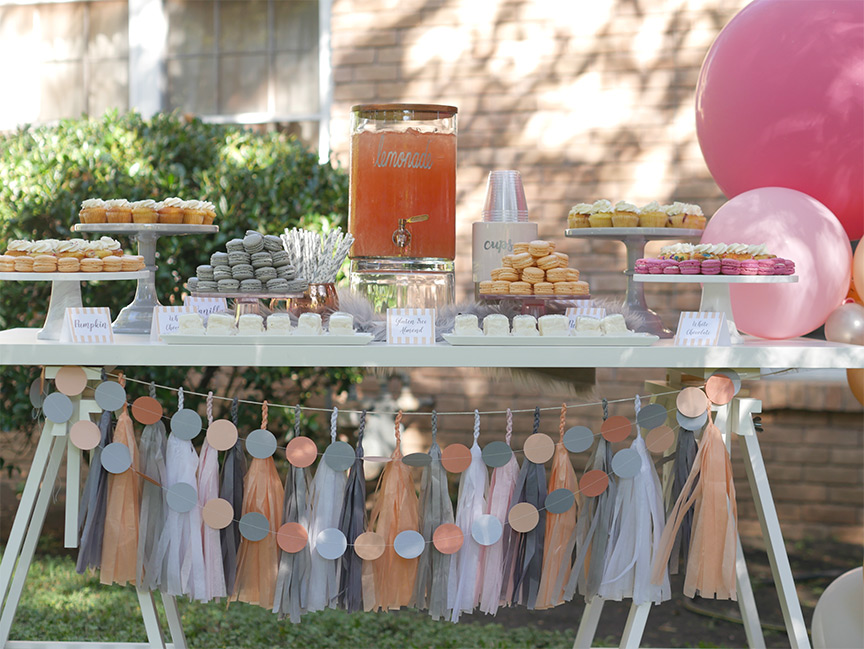 Stunning Peach and Gray Garden Party - Place cards by Press Print Party! - Party design by MINT Event Design - Baby shower - Bridal Shower - Tea Party