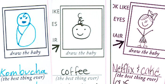 Hilarious baby shower mad-libs advice cards and virtual baby shower - by Press Print Party! Drawings of babies