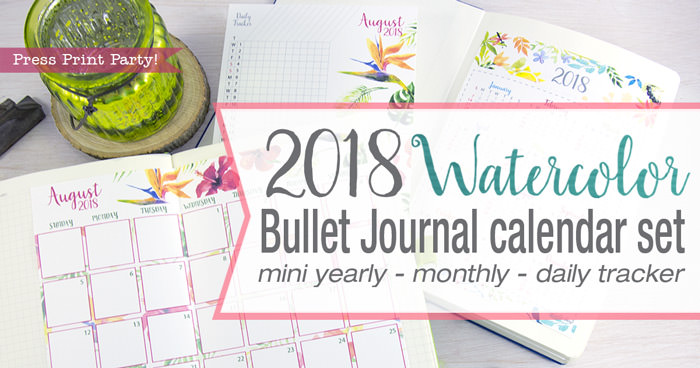 2018 Calendar for Bullet Journal - mini yearly - monthly calendar - daily tracker - by Press Print Party!