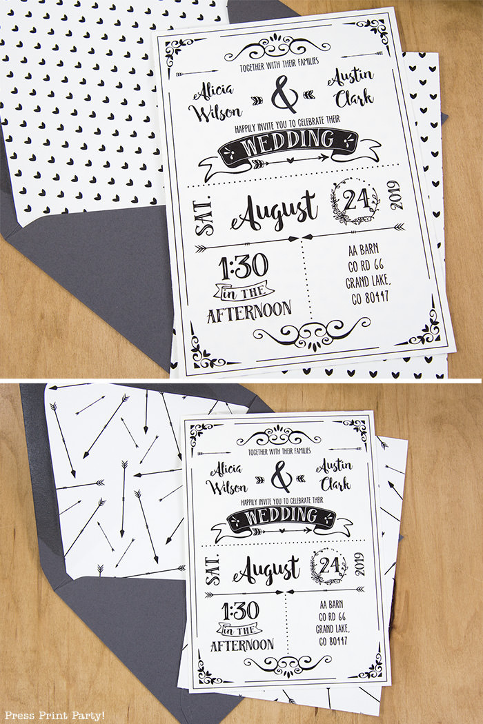 Rustic Wedding Invitations Template, cheap wedding invitations DIY Wedding Invitations- Press Print Party!