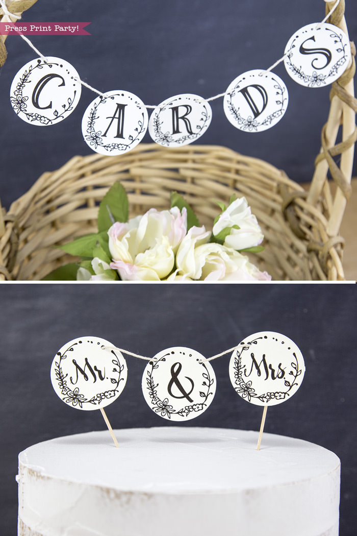 Wedding cupcake toppers by Press Print Party!