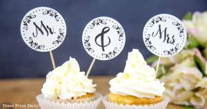 Free Mr. and Mrs. wedding cupcake toppers - Press Print Party!