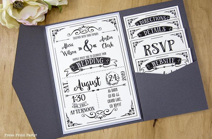 Rustic Wedding Invitations Template, cheap wedding invitations DIY Wedding Invitations- Press Print Party! open invitation
