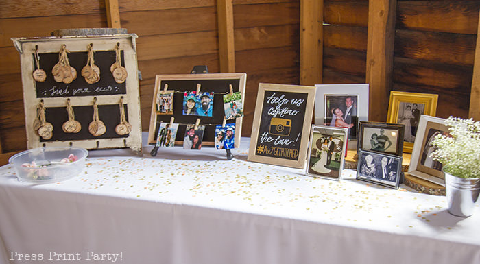 A breathtaking rustic barn wedding - country wedding - Press Print Party! photo table