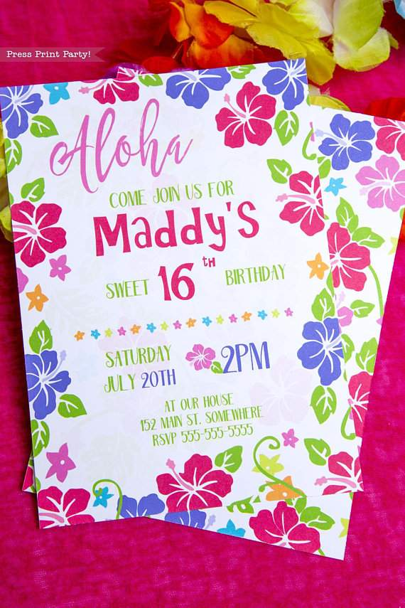 It is a picture of Hawaiian Theme Party Invitations Printable in aloha