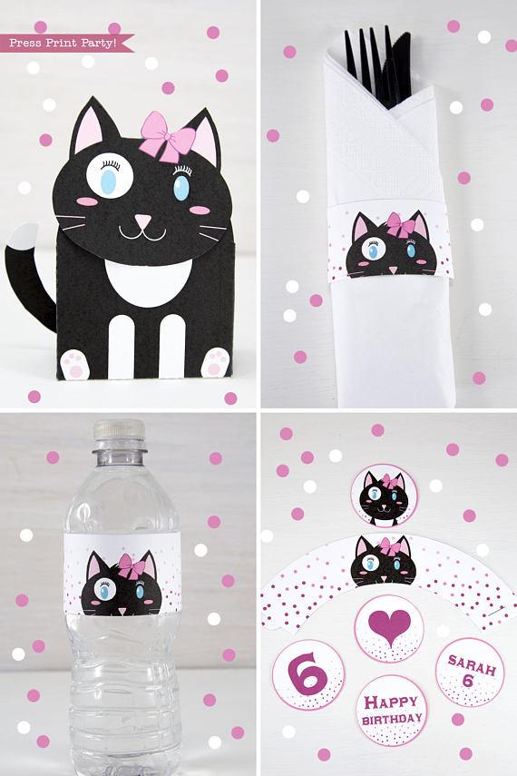 Cat Party Birthday Printable Set Girl Black Amp White