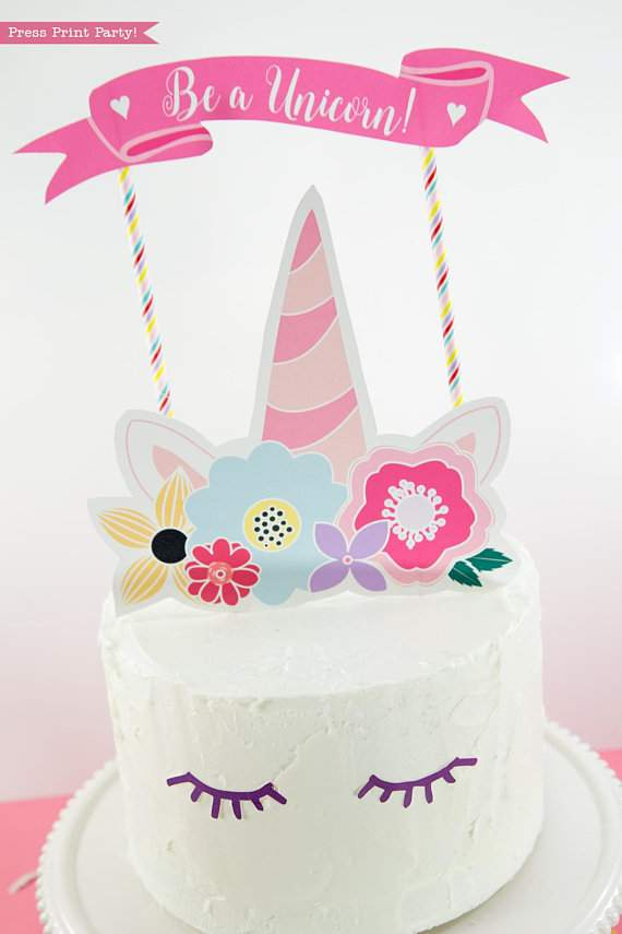 Astounding Unicorn Cake Topper Printable With Flowers Unicorn Party Press Funny Birthday Cards Online Alyptdamsfinfo