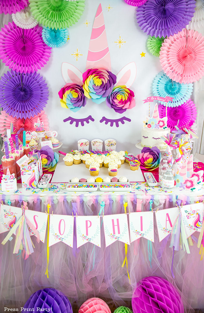 Truly Magical Unicorn Birthday Party Decorations Diy Press Print Party