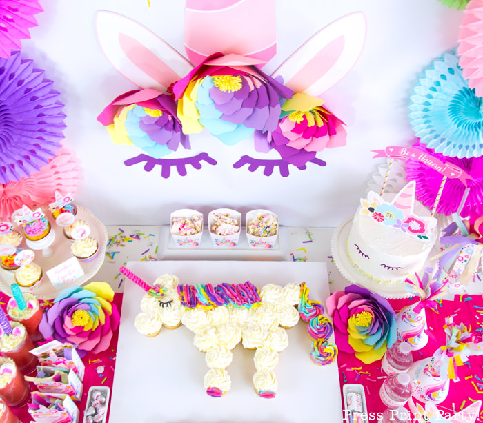 Truly Magical Unicorn Birthday Party Decorations DIY - By Press Print Party!