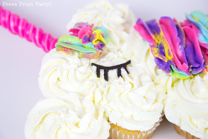 Truly Magical Unicorn Birthday Party Decorations DIY - By Press Print Party! Unicorn cupcake cake