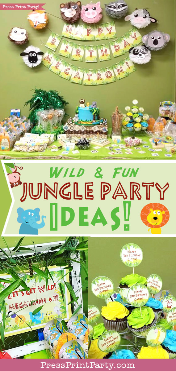 Wild and Fun Jungle Party Ideas. With the full dessert table.