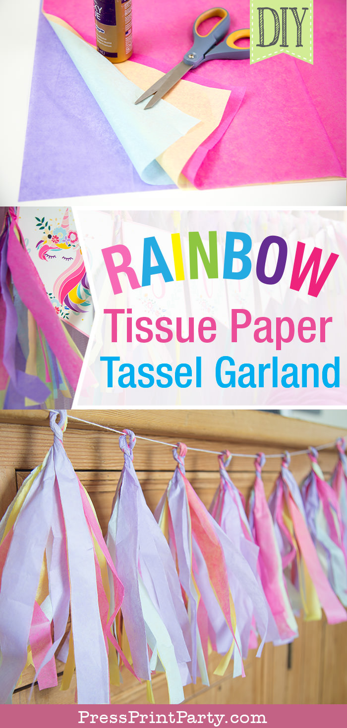 Tassel garland on buffet with text.Rainbow Tissue Paper Tassel Garland DIY.