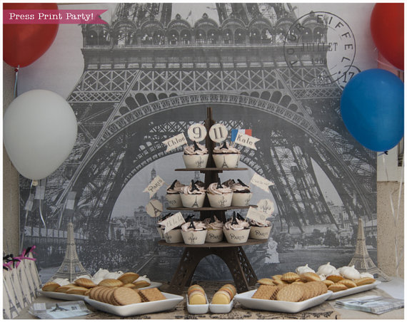 dessert table ideas paris party. French vintage party with eiffel tower. Press Print Party!