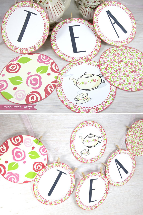 Tea Party Banner Printable, Tea Party Bunting