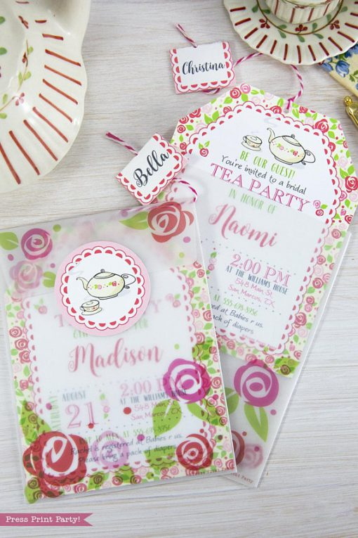 Tea Party Baby Shower Invitation Printables, A Baby is Brewing