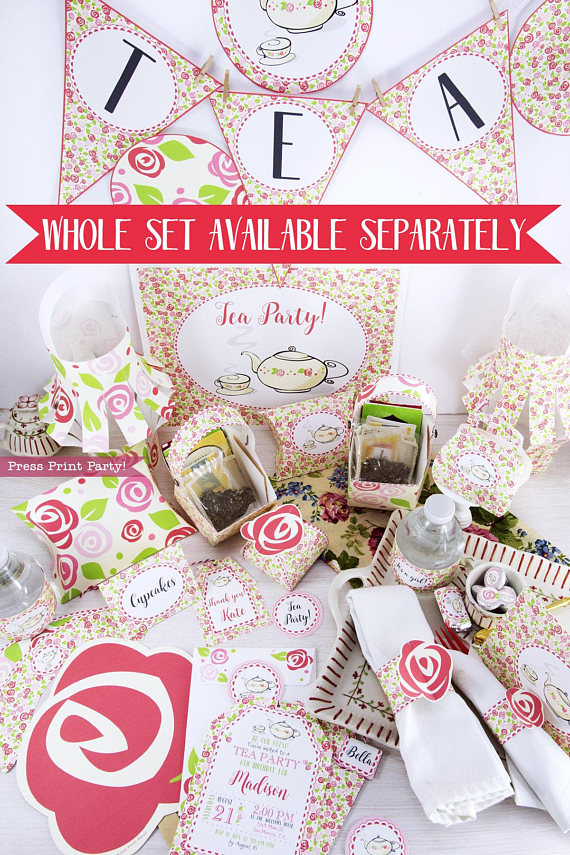 Tea Party Printable set by Press Print Party!
