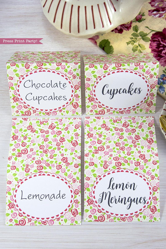 tea party place card printables By Press Print Party!