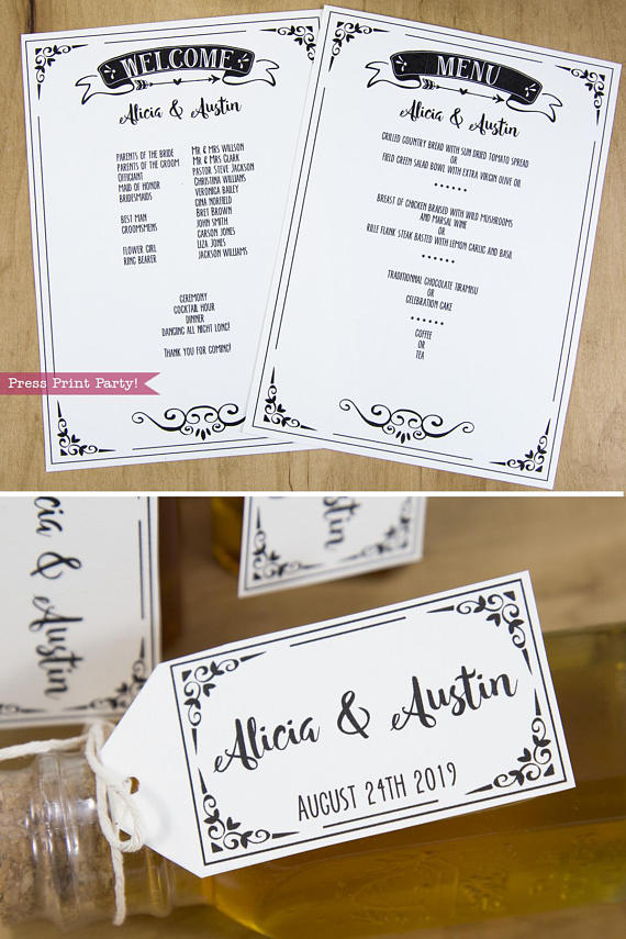 Wedding Invitation Template Printable Set, Wedding Invitation Suite, menu and welcome cards, favor tags