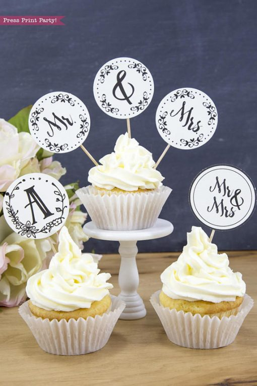 mr and mrs cupcake toppers