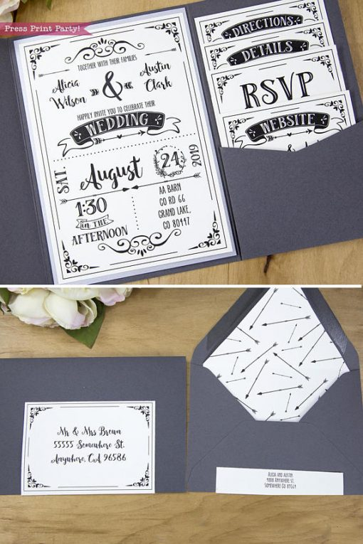Rustic Wedding Invitation Template Diy Press Print Party