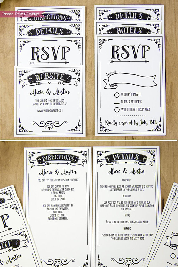 Wedding Invitation Template Printable Set, Wedding Invitation Suite, rsvp cards and insert cards for pocket