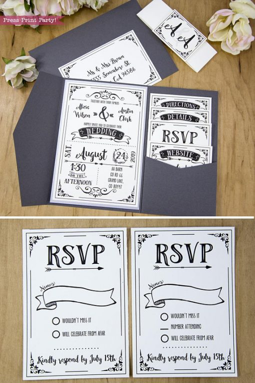 Wedding Invitation Template Printable Set, Wedding Invitation Suite, and 2 rsvp cards