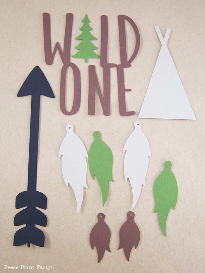 wild one cake topper cut elements