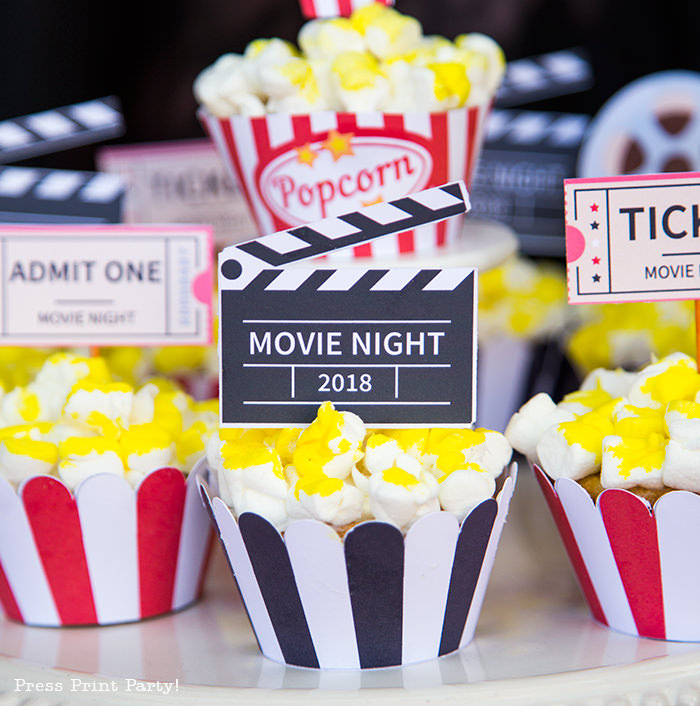 Movie night cupcakes with popcorn - Printables by Press Print Party!