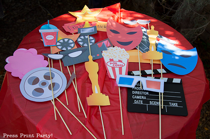 Movie Night photo booth props - Printables by Press Print Party!