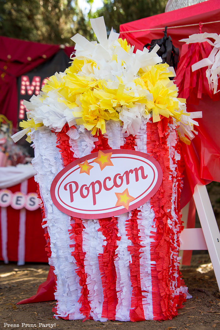 Popcorn box pinata for outdoor movie night party. Press Print Party!