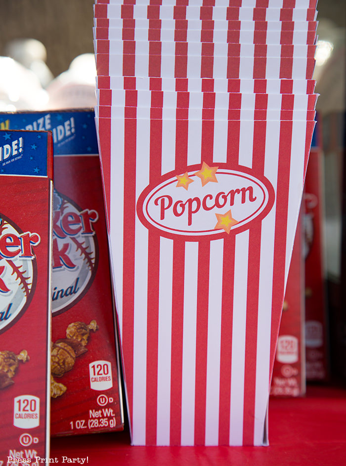 Stacked popcorn boxes Printables by Press Print Party!