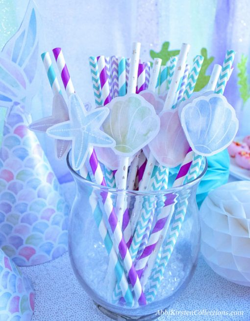 Mermaid cupcake toppers. Mermaid tails & shells. Straw topper. Printables by Press Print Party!