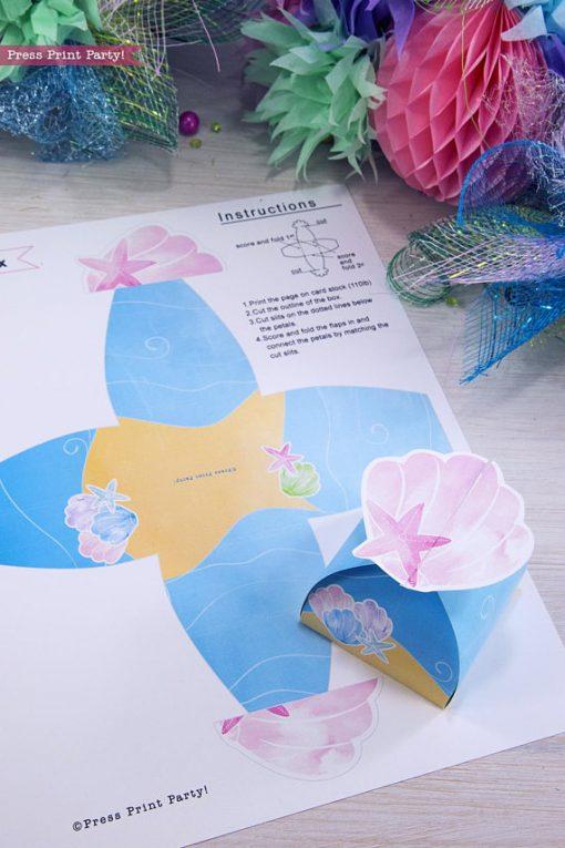 mermaid favor box printable by Press Print Party!