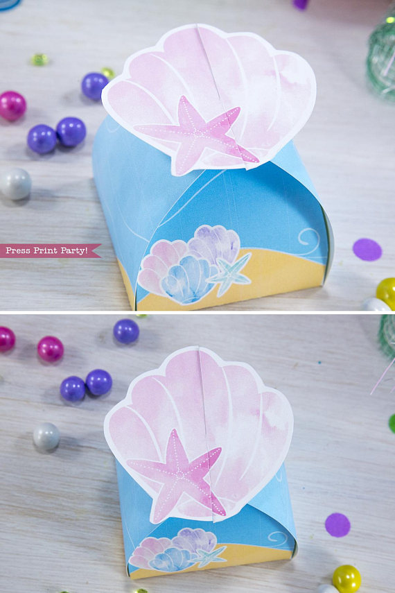 mermaid favor box printable by Press Print Party!