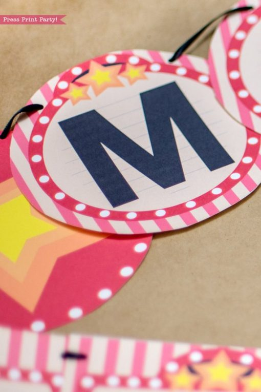 Movie night party banner. Close up of one letter and star. Round banner - Press Print Party!