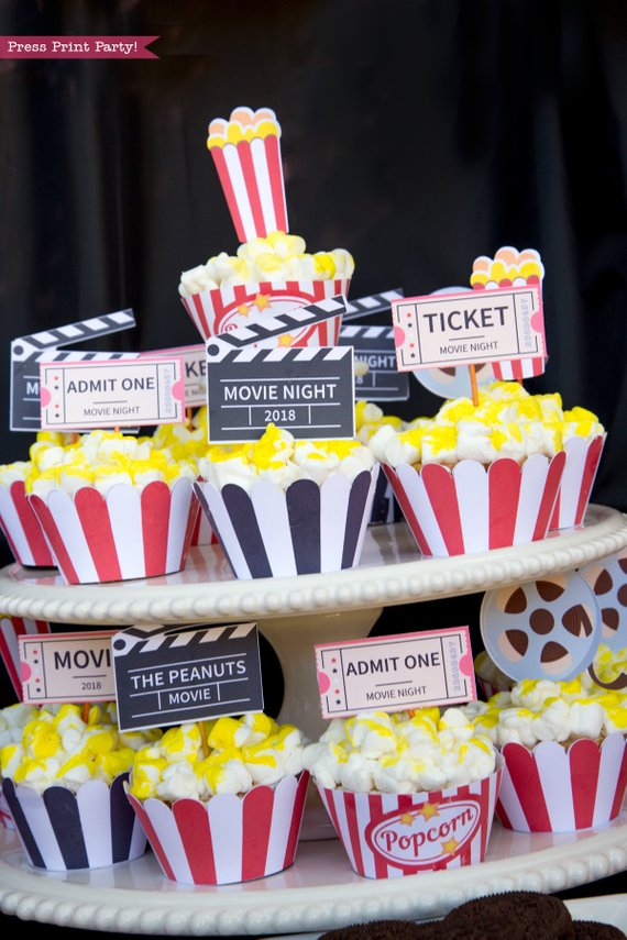 Movie night cupcakes. 4 printable wrappers. Popcorn box cupcake toppers, movie reel, clapper, marquee, ticket. Printables by Press Print Party!.