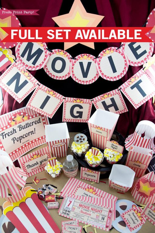 Movie Night Party Printables - Press Print Party!