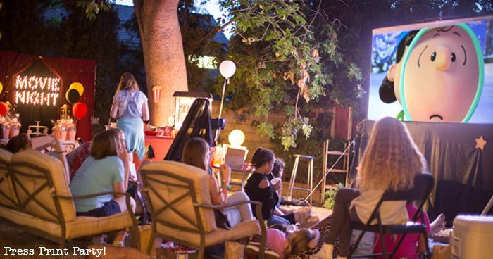 Backyard Movie Night - Kids watching movie