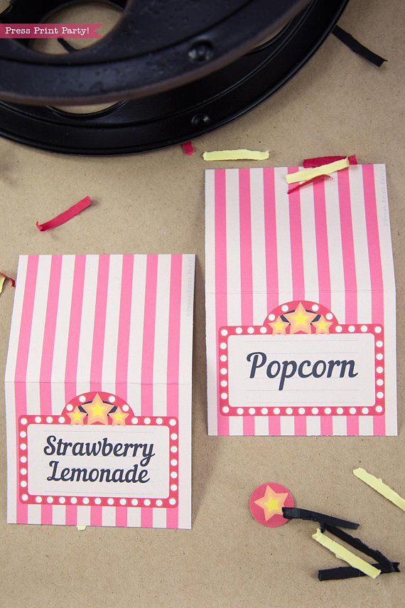 Movie Night place cards printables. by Press Print Party!